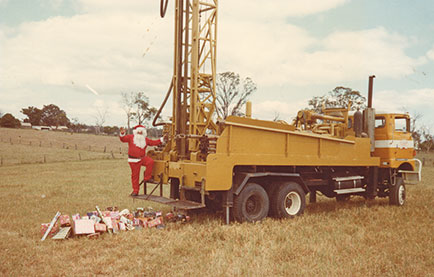 santa on drilling rig in 1981