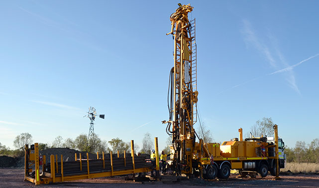 yellow drilling rig